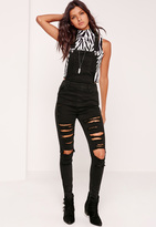 Missguided Ripped Skinny Leg Dungarees