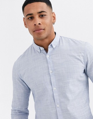 Tom Tailor slim fit slub structure shirt in blue