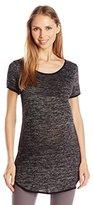 Three Seasons Maternity Women's Short Sleeve Space Dye Tunic Top