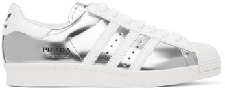 adidas Silver and White Prada Edition Superstar Sneakers