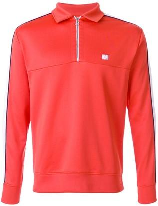 Ami Paris bicolor sweatshirt with polo collar