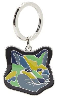 MAISON KITSUNÉ Logo-engraved Fox Head Metal Keyring - Blue