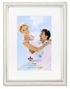 """Lawrence Frames Matted Ivory Enamel and Silver Metal Picture Frame - 6""""x8"""" without Mat - 4"""" x 6"""""""