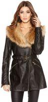 Quiz Black PU Long Length Faux Fur Collar Jacket
