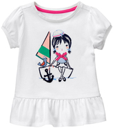 Gymboree White & Blue Girl in Sailboat Ruffle Tee - Infant & Toddler
