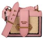 Prada Cahier Straw & Leather Shoulder Bag.