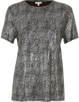 River Island Womens Silver metallic T-shirt