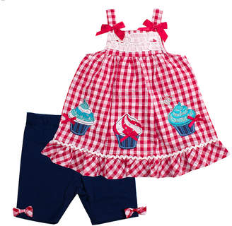 Nannette Baby Girls' Casual Shorts RED - Red Gingham Cupcake Babydoll Top & Navy Bow Bike Shorts - Infant