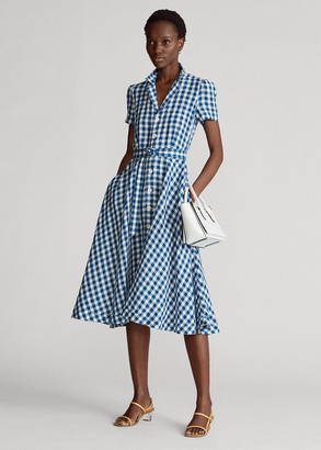 Ralph Lauren Belted Linen Midi Dress