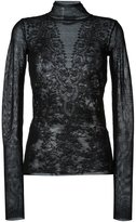 Lanvin patchwork-effect lace jacquard top - women - Wool/Polyamide - XS
