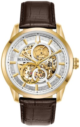 Bulova Men's Leather Automatic Skeleton Watch - 97A138