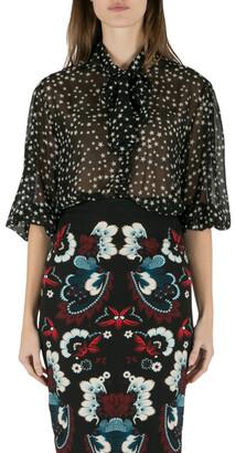 Dolce & Gabbana Black and White Star Print Neck Tie Detail Blouse M