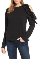 Women's Halogen Ruffled Cold Shoulder Sweatshirt