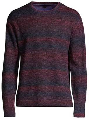 John Varvatos Plated Multi-Stripe Crewneck Sweater