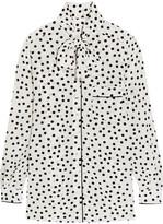 Dolce & Gabbana Pussy-bow Polka-dot Silk Crepe De Chine Blouse - White