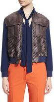 Diane von Furstenberg Chase Multipattern Wool-Blend Bomber Jacket, Midnight/Brown