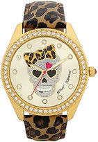 Betsey Johnson Analog Glitter Skull & Leopard-Print Faux-Leather-Strap Watch