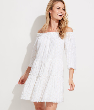 Vineyard Vines Lurex Dobby Off The Shoulder Tiered Dress