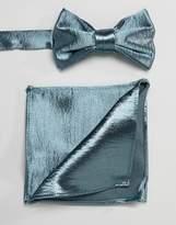 Asos DESIGN satin bow tie & pocket square in green