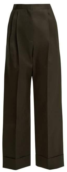 The Row Liano High Rise Stretch Wool Trousers - Womens - Dark Green