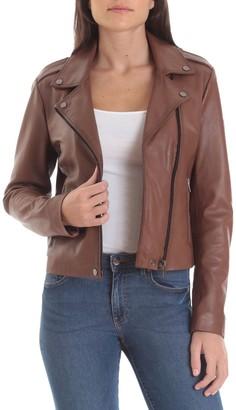 Badgley Mischka Genuine Leather Biker Jacket