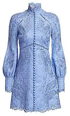 Zimmermann Women's Super 8 Lace Eyelet Embroidered Mini Silk & Linen Sheath Turtleneck Dress