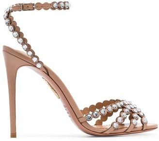 Aquazzura pink Tequila 105 suede crystal embellished high heels