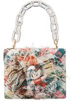 Oscar de la Renta Tro Mini Multicolored Tweed Chain Top Handle Bag