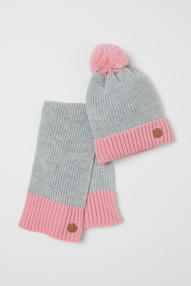 H&M Rib-knit Hat and Scarf - Gray