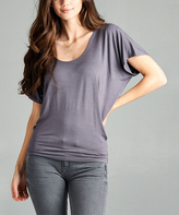 Charcoal Scoop Neck Dolman Tee