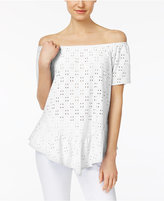 NY Collection Petite Off-The-Shoulder Eyelet Peplum Top