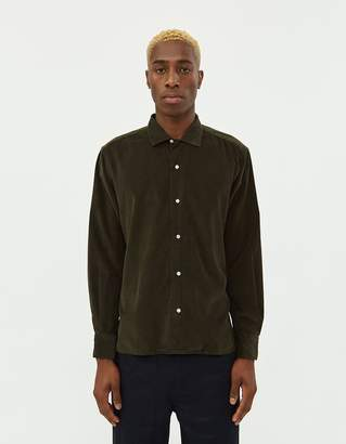 Gitman Brothers Corduroy Camp Collar Shirt in Olive
