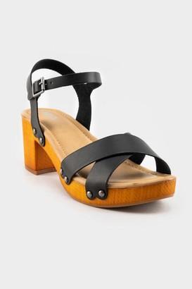 Mia Wooden Platform Sandal - Black