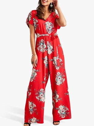 Yumi Short Sleeve Blossom Jumpsuit, Red