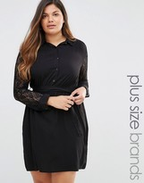 Club L Plus Shirt dress With Lace Sleeves