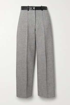 Peter Do Fireman Cropped Leather-trimmed Tweed Straight-leg Pants - Gray