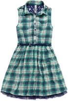 Knitworks Knit Works Sleeveless Plaid Chiffon Belted Shirtdress - Girls 7-16