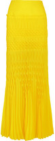 Haider Ackermann Smocked Crepe Maxi Skirt - Bright yellow