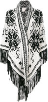 Antonia Zander fringed shawl with embroidered print