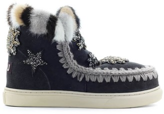 Mou Eskimo Star Patch&mink Fur Faded Black Sneaker
