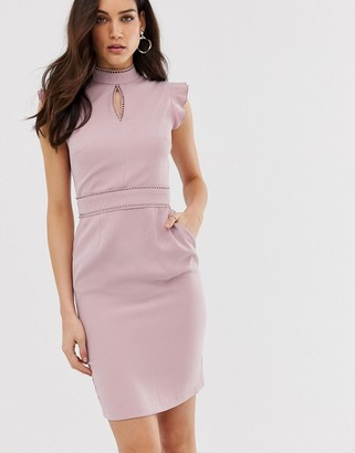 Paper Dolls capped sleeve pencil midi dress with keyhole detail-Purple
