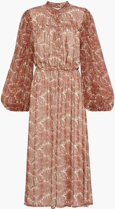 Adam Lippes Gathered Printed Silk-chiffon Midi Dress