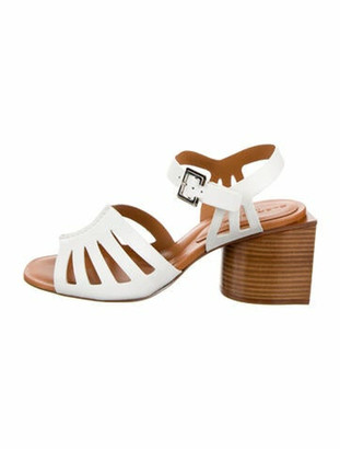 Clergerie Leather Cutout Accent Sandals w/ Tags White