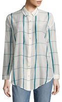 Eileen Fisher Windowpane Organic Cotton & Silk Shirt