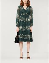 Ted Baker Dark Green Delyla Meadow Sweep Floral Chiffon Midi Dress, Size: 6