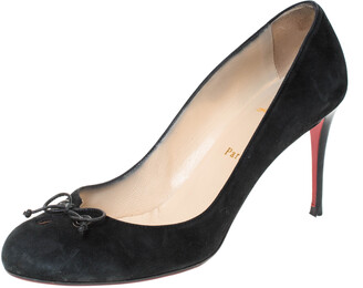 Christian Louboutin Black Suede And Leather Bow Tie Pumps Size 40