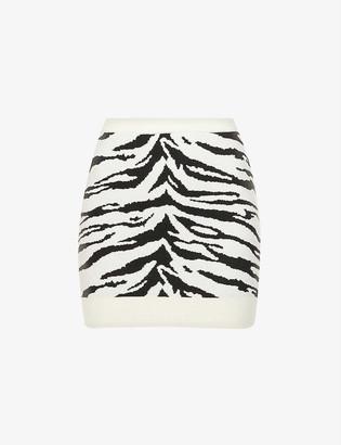 Self-Portrait Zebra-intarsia cotton-blend knitted mini skirt