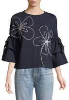 Parker Oamara Crewneck Floral-Topstitch Cotton Sweatshirt