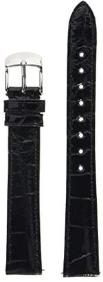 Michele 14 mm Black Alligator Strap (Black) Watches