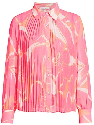 Milly Pleated Stencil Floral Shirt
